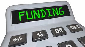 Funding Word Calculator Business Financing Loan Money. 3d Illustration Royalty Free Stock Images