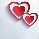 Fundo à moda com corações vermelhos do papel 3d Foto de Stock