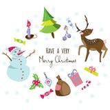 Fundo à moda com uma árvore de Natal, boneco de neve do cartão, cervo, doces, decorações Fotos de Stock Royalty Free
