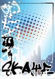 Fundo 1 do poster da cor do skate dos grafittis Fotos de Stock