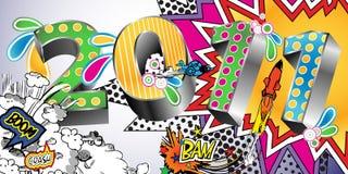 Fundo 2011 do estilo dos desenhos animados ilustração do vetor