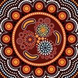 Fundo aborígene da arte do ponto com Bumerangue Imagem de Stock