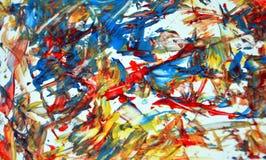 Fundo abstrato acrílico amarelo alaranjado, textura e cursos da pintura fosforescente cinzenta vermelha da aquarela do contraste  ilustração do vetor