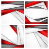 Fundo abstrato ajustado de vermelho, do branco e do preto Fotos de Stock