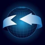 Fundo abstrato azul com seta ilustração stock