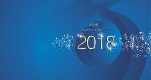 Fundo 2018 abstrato azul da paisagem da bola do ouro do fogo de artifício do ano novo feliz ilustração do vetor