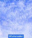 Fundo abstrato azul da tração da mão da aquarela Fotos de Stock