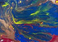 Fundo abstrato azul marmoreado Teste padrão de mármore líquido Textura acrílica marmoreando Imagem de Stock Royalty Free
