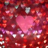 Fundo abstrato brilhante dos corações vermelhos e cor-de-rosa Imagens de Stock Royalty Free