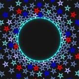 Fundo abstrato cósmico estrelado escuro com círculo de incandescência azul com lugar para o texto Vetor Imagens de Stock