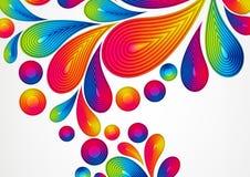 Fundo abstrato colorido com respingo listrado das gotas Imagens de Stock Royalty Free