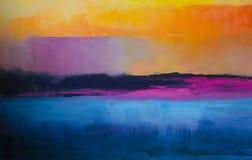 Fundo abstrato colorido da pintura a óleo Óleo na textura da lona Fotos de Stock