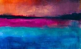 Fundo abstrato colorido da pintura a óleo Óleo na textura da lona ilustração do vetor
