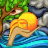 Árvore e sol tristes Imagens de Stock