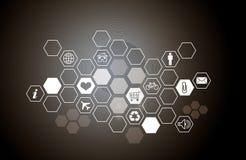 Fundo abstrato com ícones do computador Fotografia de Stock Royalty Free