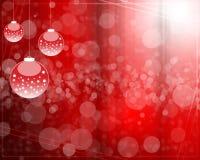 Fundo abstrato com as esferas da árvore de Natal vermelhas Imagens de Stock