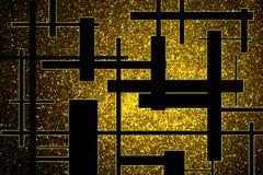 Fundo abstrato com as estrelas brilhantes do ouro e as barras pretas fotografia de stock royalty free