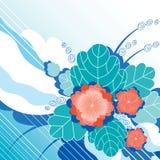 Fundo abstrato com as flores vermelhas decorativas Imagens de Stock Royalty Free