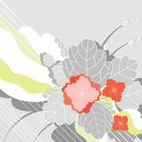 Fundo abstrato com as flores vermelhas decorativas Ilustração Royalty Free