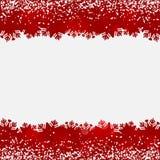 Fundo abstrato com beiras do vermelho da neve e do floco de neve ilustração royalty free