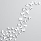 Fundo abstrato com a borboleta de papel no formulário de onda ilustração stock