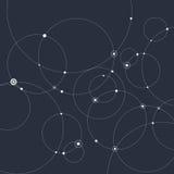 Fundo abstrato com círculos e pontos Conceito da conexão Ilustração do vetor Fotografia de Stock