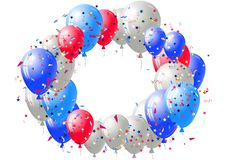 Fundo abstrato com confetes e os balões dispersados Molde festivo vazio do cartão do feriado Fotografia de Stock