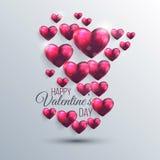 Fundo abstrato com corações de um Valentim do rosa Imagem de Stock