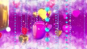 Fundo abstrato com corações no dia do Valentim de Saint Animação 3d dando laços filme