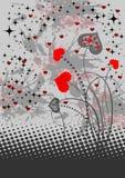 Fundo abstrato com corações vermelhos Imagens de Stock Royalty Free