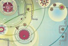Fundo abstrato com elementos do ornamento do Maya Tecnologia da rede e da esfera da geometria As esferas de incandescência, curva ilustração royalty free