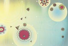 Fundo abstrato com elementos do ornamento do Maya Tecnologia da rede e da esfera da geometria As esferas de incandescência, curva ilustração do vetor