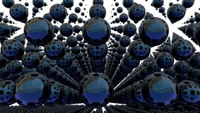 Fundo abstrato com esferas do metal, ilustração 3d ilustração do vetor