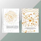 Fundo abstrato com fórmulas científicas Folheto da tecnologia de design do vetor ilustração royalty free