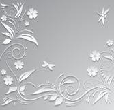 Fundo abstrato com flores de papel, borboleta e libélula ilustração do vetor