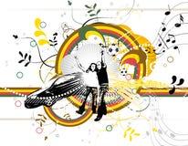 Fundo abstrato com formas e silhouet da cor Ilustração Royalty Free