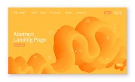 Fundo abstrato com formulário líquido em cores amarelas para a página de aterrissagem ilustração stock