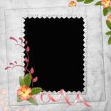 Fundo abstrato com frame e flores Fotos de Stock