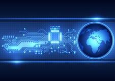 Fundo abstrato com global, ilustração da placa de circuito do vetor Imagem de Stock Royalty Free