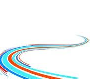 Fundo abstrato com linhas azuis e vermelhas ilustração do vetor
