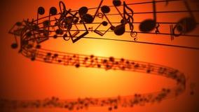 Fundo abstrato com notas coloridas da música ilustração do vetor