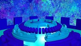 Fundo abstrato com o azul ciano de giro dos círculos da ficção ilustração do vetor