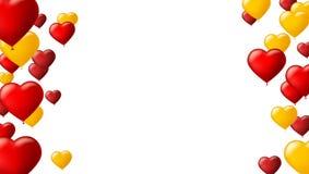 Fundo abstrato com os balões coloridos voo Molde para o cartão com os balões de ar na forma de um coração Fotografia de Stock
