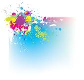 Fundo abstrato com os splas coloridos da tinta Ilustração Stock