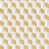 Fundo abstrato com poeira e sombras de ouro O jogo da luz e da sombra, o teste padrão da xadrez no isométrico Imagens de Stock