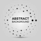 Fundo abstrato com pontos e linhas Construção assimétrica à moda preto e branco contemporânea com conectado Foto de Stock Royalty Free