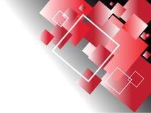Fundo abstrato com quadrados pretos, vermelhos e brancos Imagens de Stock