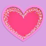 Fundo abstrato com quadro vermelho dos corações Vetor Imagem de Stock