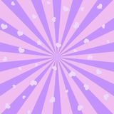 Fundo abstrato com raios e corações cor-de-rosa do sol Vetor ilustração do vetor