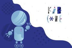 Fundo abstrato com robô de encantamento e rotulação para as crianças que codificam o conceito de projeto no estilo liso ilustração stock